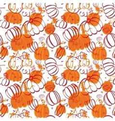 Seamless food pattern with pumpkins vector
