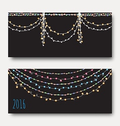 Greeting card with bright brilliant garlands vector