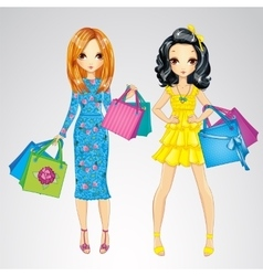 Fashion girls with shopping bags vector