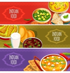 Indian food horizontal banners set vector