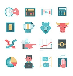 Icons of online stocks trading vector