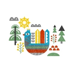 Cute print with bird in the forest vector