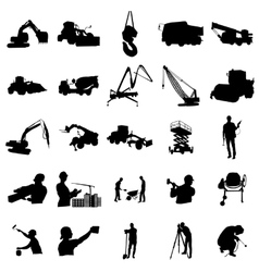 Construction silhouette set simple style vector image