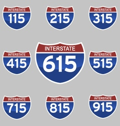 Interstate signs 115-915 vector