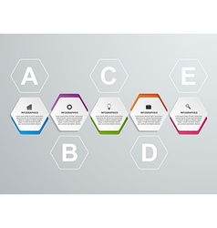 Abstract hexagon options infographics template vector