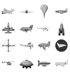 Aircraft icons set gray monochrome style vector image