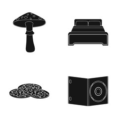 Amanita bed and other web icon in black style vector