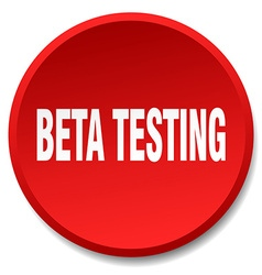 Beta testing red round flat isolated push button vector