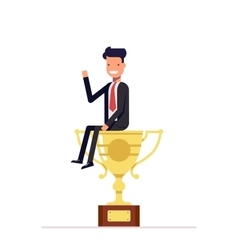 Businessman or manager is sitting on a big cup vector image vector image