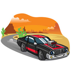 Cartoon muscle car drive fast on the road vector