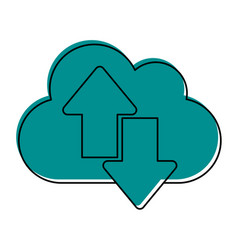 Cloud with download arrow icon image vector