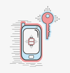 Color smartphone icon and key circuit bitcoin vector