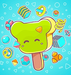 colorful of green ice cream bear on blue bac vector image vector image