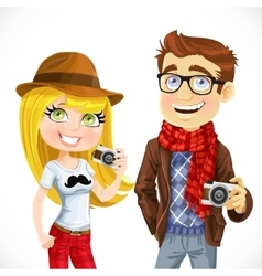 Couple of hipsters with a camera isolated on white vector