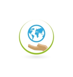 earth in the palm vector image