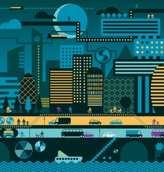 Future city night vector image