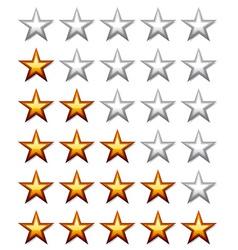 Golden shiny rating stars vector