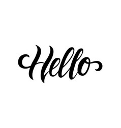 Hello hand drawn calligraphy and brush pen vector