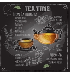 Herbal Tea Time card with cup teapot Mint vector image vector image