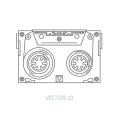 Line flat icon audiocassette hipster style vector