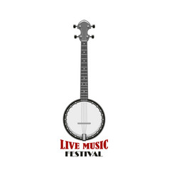 music festival emblem design with banjo vector image