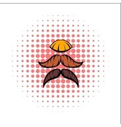Mustache comics icon vector image vector image