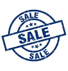 Sale blue round grunge stamp vector