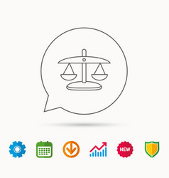 scales of justice icon law and judge sign vector image