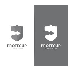 Shield and arrow up logo combination vector