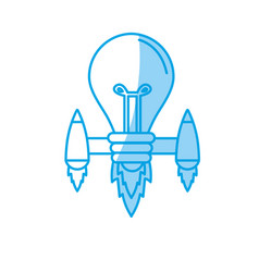 Silhouette bulb with thrusters to creative idea vector