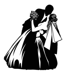 silhouettes of kissing bride and groom vector image