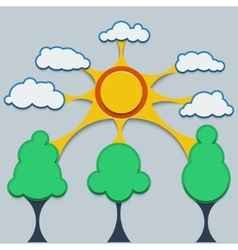 Template infographic contact the sun clouds and vector