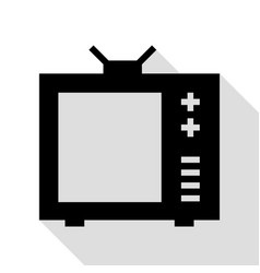 tv sign black icon with flat style vector image vector image