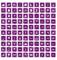 100 global warming icons set grunge purple vector image vector image