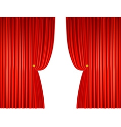 Open red curtains with ropes vector