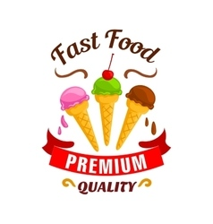 Fast food ice cream label icon vector image
