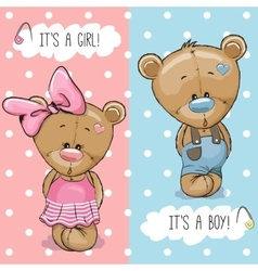 Teddy bears boy and girl vector