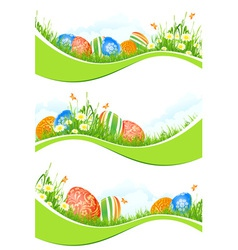 Easter banners set vector