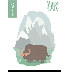 Vertical of yak in colorful mountain background vector