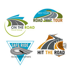 Road trip tour and travel icons set vector