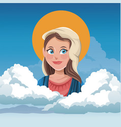 virgin mary spiritual cloud sky bakcground vector image