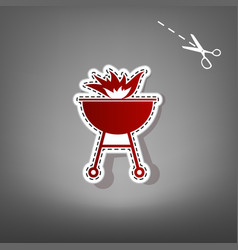 Barbecue with fire sign  red icon with for vector