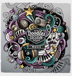 Cartoon cute doodles hand drawn music vector