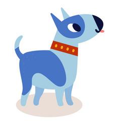 cute cartoon blue bull terrier dog i vector image