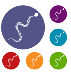 Snake wriggling icons set vector