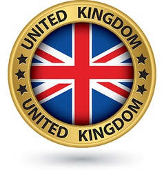United kingdom gold label with flag vector image