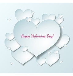 Valentines day card with paper hearts vector