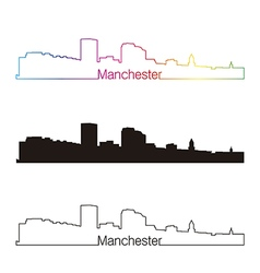 Manchester skyline linear style with rainbow vector