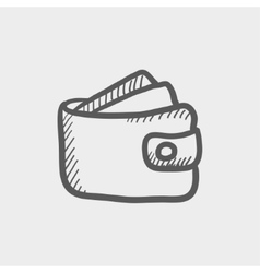 Wallet with money and credit card sketch icon vector
