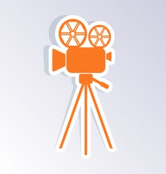 Retro movie camera icon vector